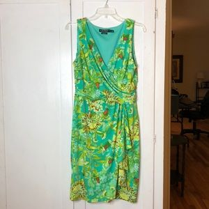 Gorgeous Teal and Green Floral Print Dress